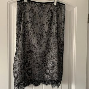 Ann Taylor Black Lace Pencil Skirt